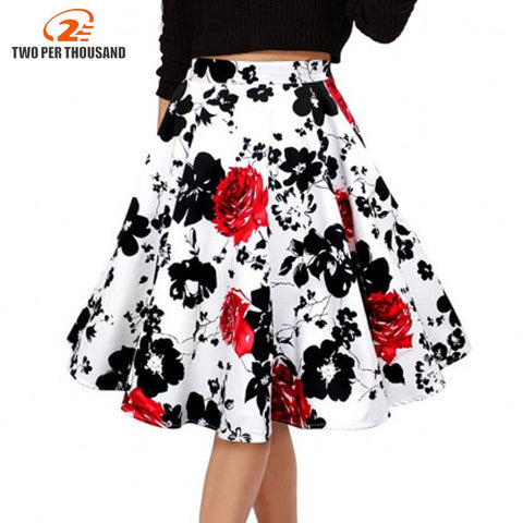 50s Vintage Retro Red Rose Flower Bouquet Floral Print High Waist Midi Skirts Mid-Calf Long Skirt