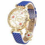 Women Watch Vintage Retro Bracelet Watches Flower Rhinestone PU Leather Quartz Wrist Watch