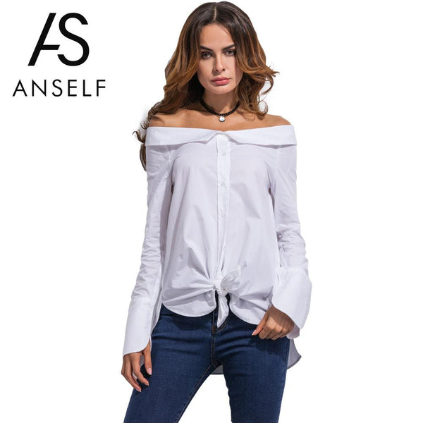 Anself Summer Sexy White Blouses Off Shoulder Vintage Shirts Long Sleeve Blouse Casual Tops