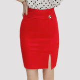 High Waist Pencil Skirt Casual Bodycon Skirt Elegant Formal Stretch Fabrics Red Black Skirts