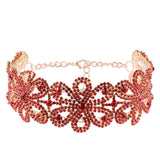 Choker Crystal Gem For Bridal Rhinestone Flowers Shape Collars Choker Statement Necklaces Jewelry