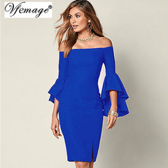 Vfemage Elegant Flare Trumpet Sleeve Off Shoulder Front Slit Sheath Slim Casual Party Bodycon Dress