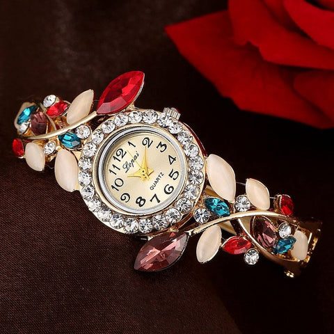 Lvpai Vintage Women Watches Colorful Crystal Bracelet Wristwatch Casual Gift Clock Red Watches
