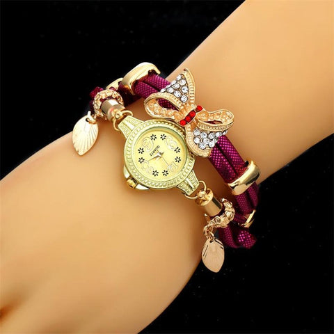 MINHIN Butterfly Retro Bracelet Lovely Wedding Quartz Wrist Watches Rhinestone Delicate Watches