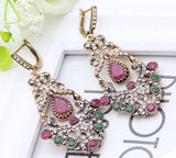 Bright Flower Earrings Turkish Retro Gold Plating Swinging Pendant Earrings Princess Hook Jewelry