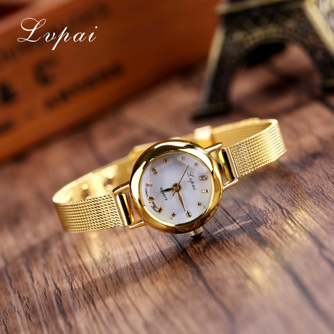 Lvpai Brand Cheap Luxury Stainless Steel Gold Silver Band Women Wristwatch Casual Quartz Watches