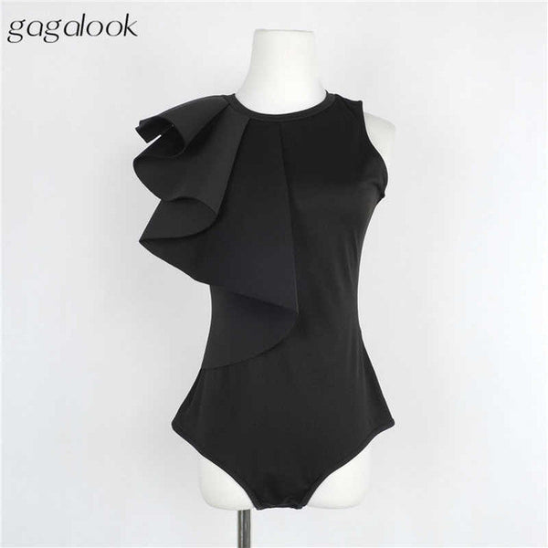 Gagalook Sexy Bodysuit Women Jumpsuit Romper One Piece Black White Ruffled Bodycon Elegant Tops