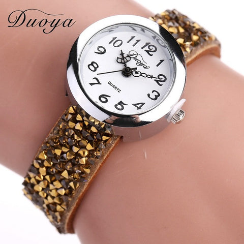Duoya Watches Women Casual Crystal Rhinestone Bracelet Watch Quartz Luxury Vintage Watch