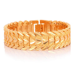 U7 Gold Color Heart Bracelet Jewelry Wristband 17MM 20CM Chunky Big Chain Bracelets Bangles For Men