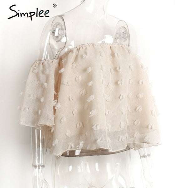 Simplee Sexy off shoulder chiffon blouse Summer flare sleeve lace blouse Elegant beach party Blouse