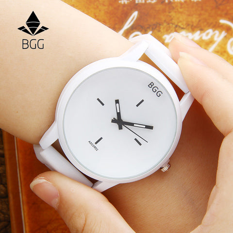 Big Dial Wrist Watches Creative Quartz Watch Men Women Lover Clock With Silicone Strap White