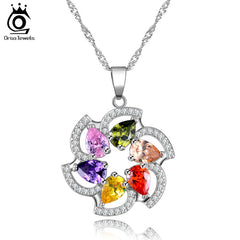 ORSA JEWELS Silver Color Zircon Pendant Necklaces Luxury Crystal Necklaces Jewelry