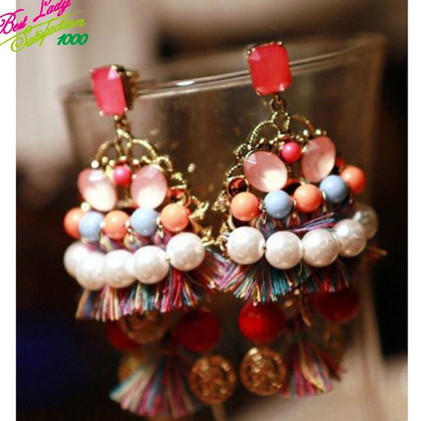 Best Lady Big Bohemia Simulated Pearl Layer Statement Brand Multi Color Dangle Drop Earrings Jewelry