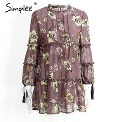 Simplee Boho Floral Print Tassel Long Sleeve Ruffle Chiffon Vintage Loose Short Dress