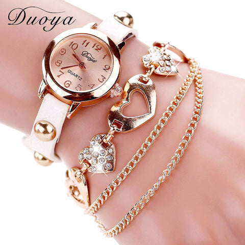 Duoya Luxury Rose Gold Heart Leather Wristwatches Ladies Bracelet Chain Quartz Watch