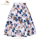 SISHION Skirts Sexy Apparel Midi Skirt Floral Dot Black Red Blue Summer High Waist Skirt