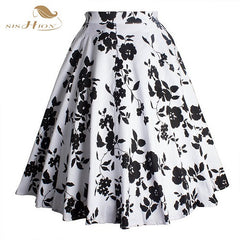 SISHION Retro Style 50s Vintage Skirt High Waist Pin up Floral Print Rockabilly Swing Summer Skirt