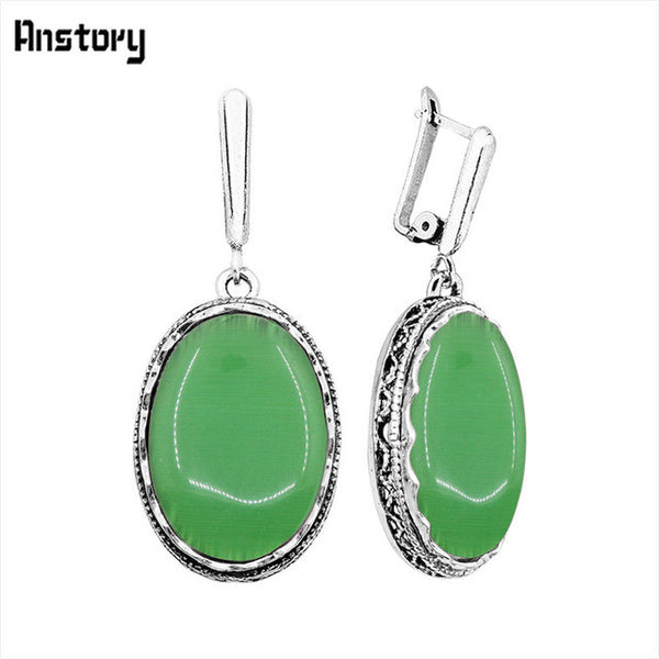 Big Oval Opal Earrings Antique Silver Plated Hollow Flower Pendant Jewelry Bridal Wedding