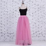 Spring Lace Princess Fairy Style 4 Layers Voile Tulle Skirt Bouffant Puffy Long Tutu Skirts