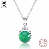 ORSA JEWELS Fashion 925 Sterling Silver Pendant Necklaces Shiny Green Cat's Eye Stone Genuine Silver