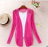 Irregular Hem Long Sleeve Slim Thin Lace Hollow Out Jacket Women Knitted Cardigan Sweater Tops