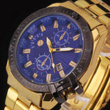 Hcandice Luxury Black Dial Gold Stainless Steel Date Quartz Analog Sport Wrist Watch