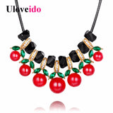 Uloveido Cherry Necklace Long Chain Crystal Flower Colored Twisted Rope Cloth Necklaces Pendants