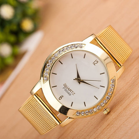 Perfect Women Crystal Golden Stainless Steel Analog Quartz Wrist Watch Bracelet
