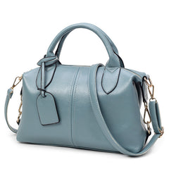 Guapabien Solid Leather Bag Zipper Big Capacity Ladies Casual Shopping Shoulder Bag