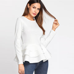 Round Neck Tiered Ruffle Hem Blouse