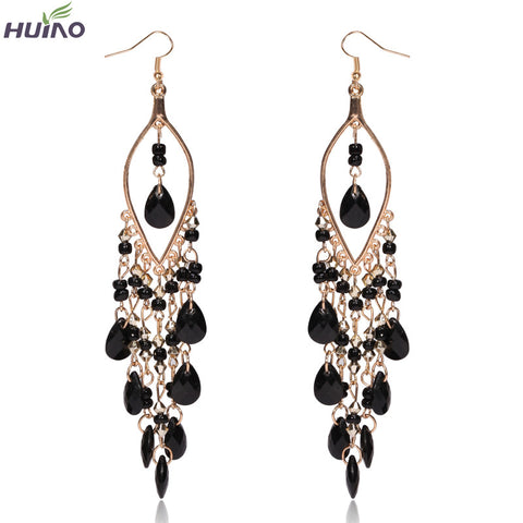 Brincos Sterling Jewelry Peacock Shape Long Tassel Drop Earrings