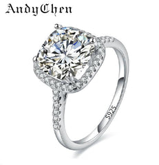 Silver Plated Women Wedding Rings Square Simulated Diamond Jewelry Engagement Ring