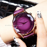HK GUOU Quartz Rhinestone Waterproof Watch Genuine Leather Upscale Large Dial Luxury Wristwatches