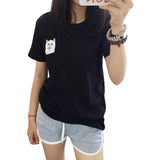 Women T-Shirt Print Middle Finger Pocket Cat Harajuku O-neck Short Sleeve Cotton Couple Tee