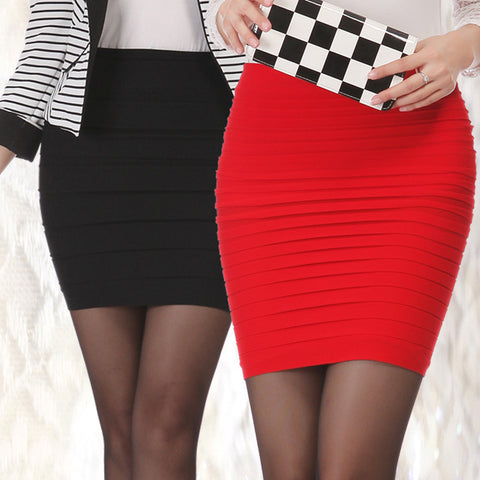 Short Mini Jupe Bandage Slim Bodycon Skirts High Waist Elastic Pleated Hip Short Skirt