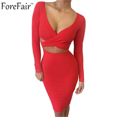 Long Sleeve Elastic Cotton Elegant Party Dresses Sexy Midi Pencil Club Bandage Bodycon Dress