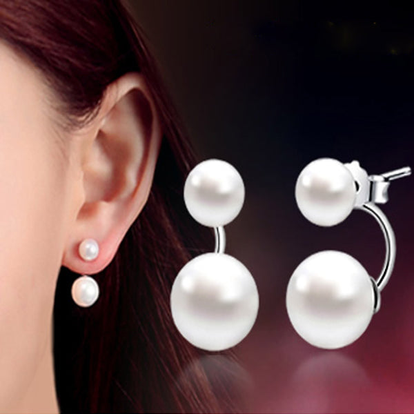 925 Sterling Silver Double Sided Shell Pearl Stud Earrings Jewelry Long Earrings Women Jewelry Gift