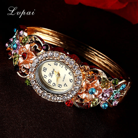 Lvpai Luxury Gold Bracelet Watch Women Flower Gemstone Classic Alloy Wristwatch New Quartz Watches