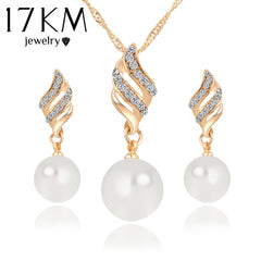 Women Necklace Earrings Crystal Gold Color Big Simulated Pearl Wedding Party Jewelry Sets