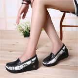 Swing Casual Loafers platform Women's Pumps Shoes Patchwork Wedges Heel Spring Autumn Boat Shoes