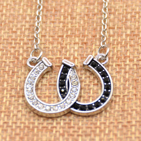 Rhinestone Double Horse Hoof Horseshoe Pendant Necklace Jewellery Black White