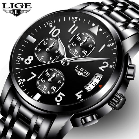 LIGE Men Watches Top Luxury Business Quartz Watch Sport Full Steel Waterproof Black Clock