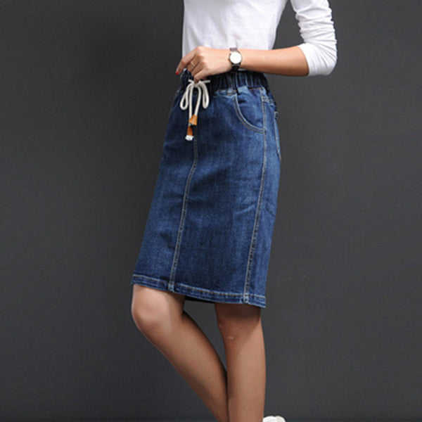 Vintage Denim Skirt Korean Simple Stretch Skirt Autumn Midi Skirt Jeans Slim Wrap Office Women Skirt