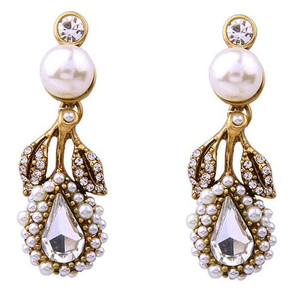 Luxury Design Gold Color Leaves Stud Earrings Pearl Girls Crystal Jewelry