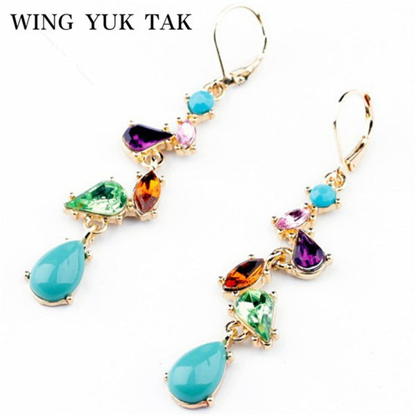 Earrings Jewelry Alloy Multicolor Crystal Long Drop Women Earrings
