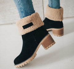 winter women snow boots square high heels ladies chaussure warm fur shoes woman mid-calf booties