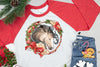 2019 Buckskin Christmas Horse Wreath - 3/4 Sleeve Raglan T-Shirt