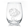 Breathless Arabian Horse Stemless Wine Glasses