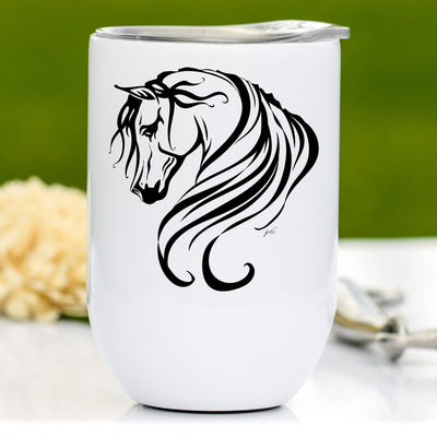 Breathless Arabian Horse, 12 oz Wine Tumbler