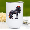 Autumn Friesian Horse Wine Tumbler